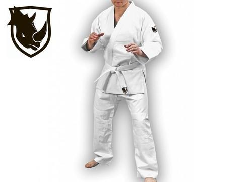 Кимоно для дзюдо RHINO цвет белый. Размер 28-30. Рост 110