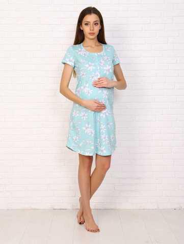 Мамаландия. Сорочка для беременных и кормящих с пуговицами короткий рукав, мятный