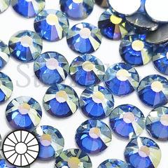 Стразы холодной фиксации клеевые стеклянные Blue Shimmer голубые на StrazOK.ru