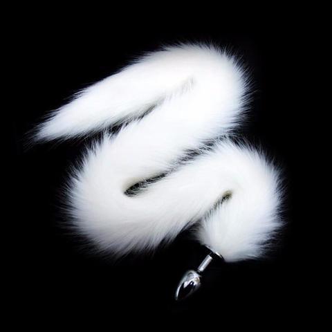 Серебристая анальная пробка с белым хвостиком