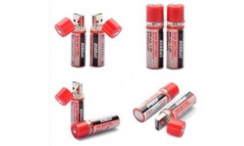 Портативный USB аккумулятор AA 1450 мАч (батарейка c USB) 2шт комплект