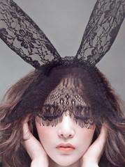 Черная вуалетка с кружевными ушками