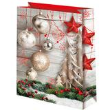 Новогодний подарочный пакет Шары и звезды (большой)