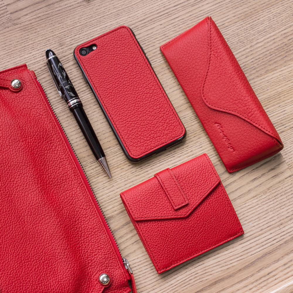 Картхолдер-кошелек Perle Easy из натуральной кожи теленка, красного цвета