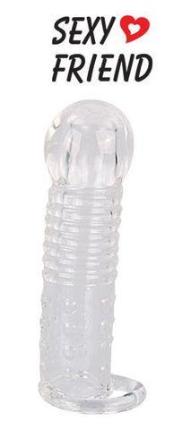 Прозрачная закрытая насадка на фаллос с кольцом для мошонки - 13,5 см.