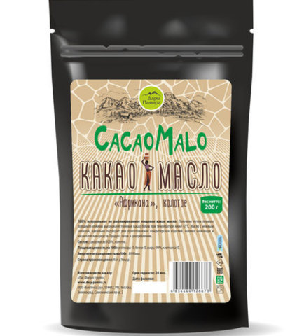 Какао масло нерафинированное Африкана 200г колотое Дары Памира