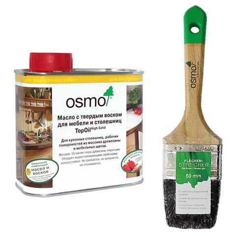 Масло воск для столешниц TopOil и кисть OSMO