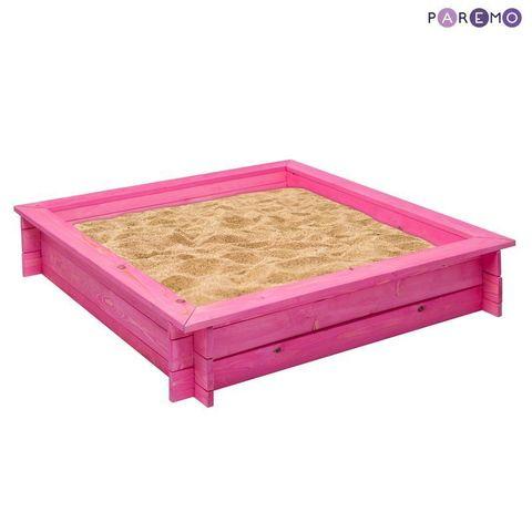 """Деревянная песочница """"Афродита"""" (4 лавки, пропитка, подложка), цв. Розовый"""