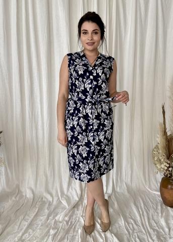 Діна. Красива літня сукня на гудзиках. Синій