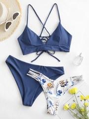 Купальник раздельный с двумя трусами серо-голубой цветочный принт 1