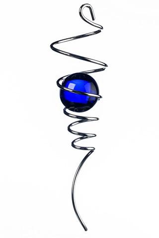Спиральный хвостик серебристый с голубым шаром (Iron Stop)