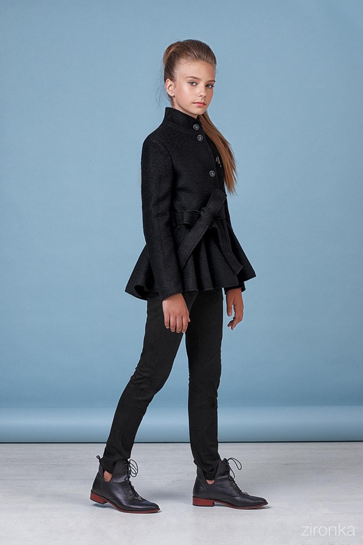 Пальто черное для девочки 50-8002-1