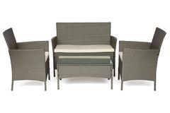 Лаундж сет (диван+2кресла+столик+подушки) (mod. 210013) — темно-серый (ткань: DB-16 серо-бежевый)