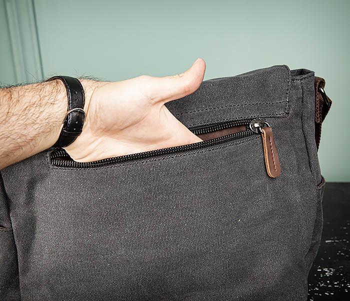 BAG504-1 Удобная городская сумка портфель из ткани серого цвета фото 08