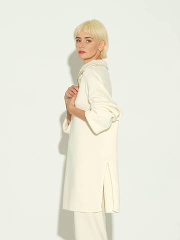 Женский свитер молочного цвета из шерсти и кашемира - фото 4