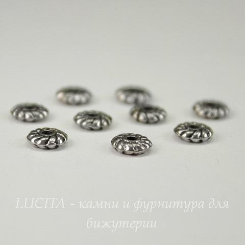 Бусина металлическая - спейсер 6х2 мм (цвет - античное серебро), 10 штук