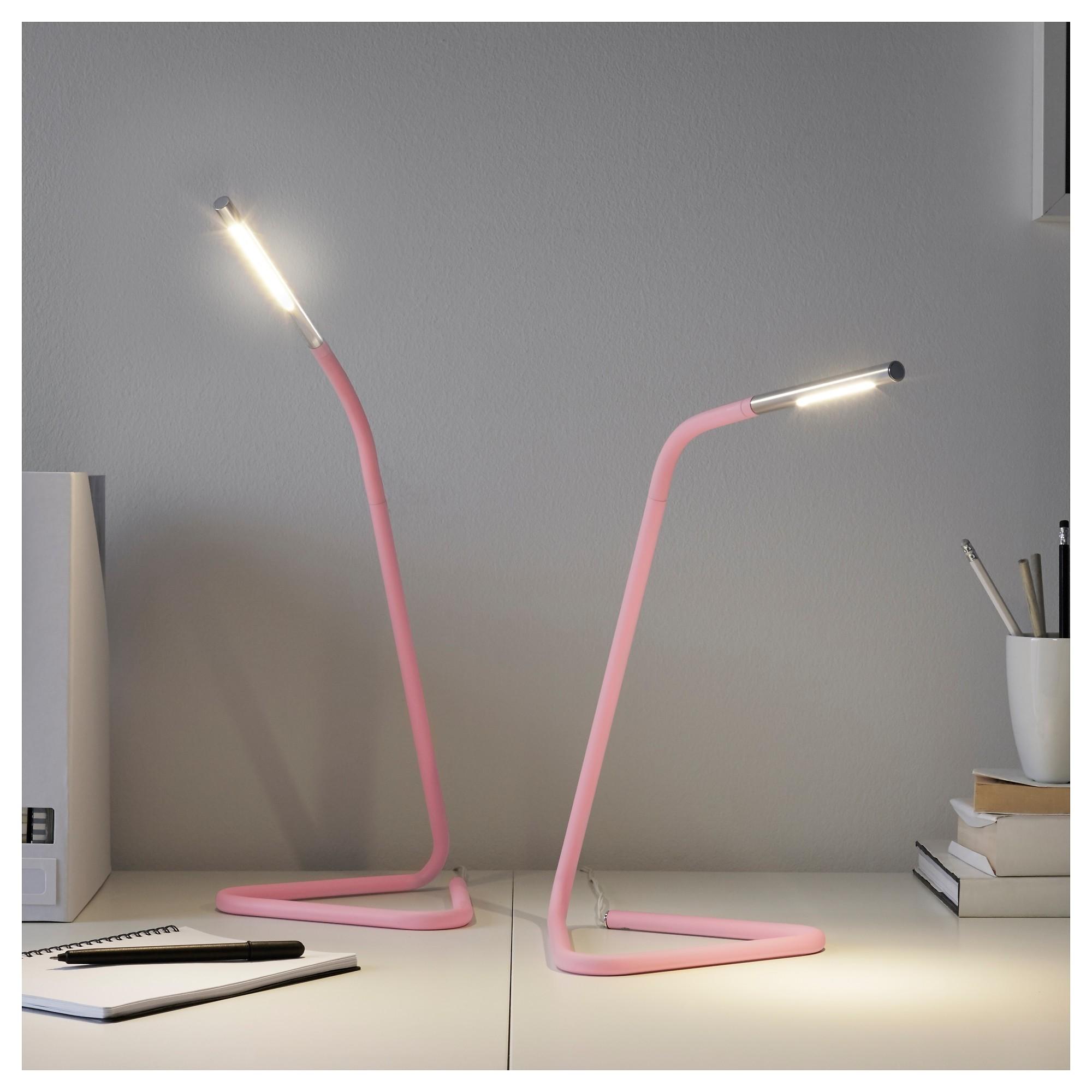 ХОРТЕ Рабочая лампа, светодиодная светло-розовый, серебристый