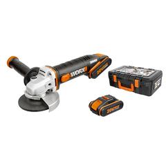 Угловая шлифмашина аккумуляторная WORX WX800,20В, 115 мм, 2*2,0Ач, кейс