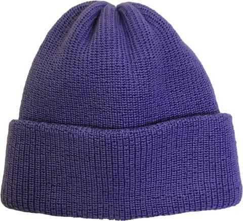 Зимняя шапка бини с отворотом, цвет - сиреневый