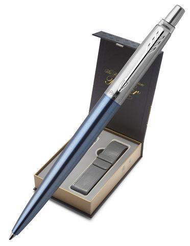 Подарочный набор с чехлом и Шариковая ручка Parker Jotter Essential, цвет: голубой CT123