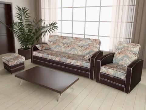 Угловой диван +  кресло+ пуф (комплект №6)