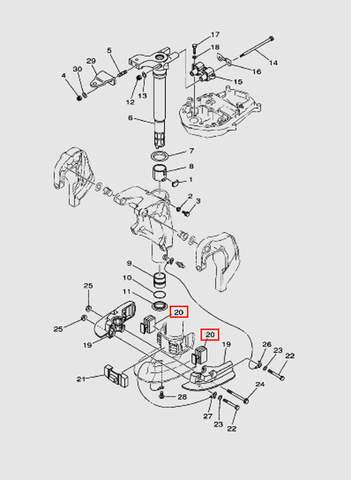 Демпфер нижний для лодочного мотора T40 Sea-PRO (20-20)
