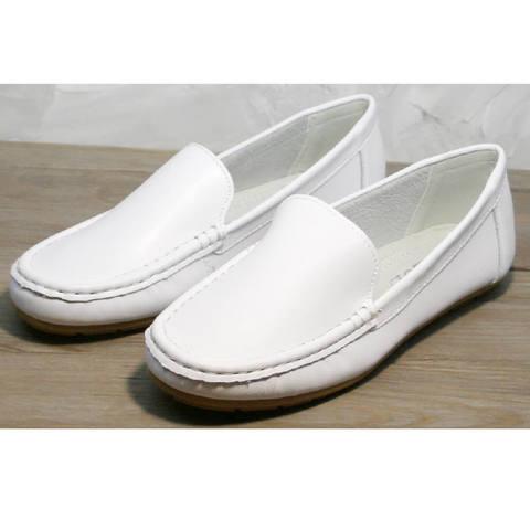 Кожаные мокасины белые. Женские туфли без каблука AESD White.