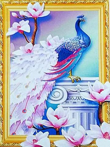 Алмазная Мозаика 5D 40x50 Павлин с цветочным хвостом на колонне