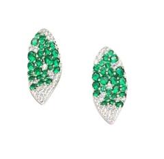 Серьги GIARDINI  в форме лепестков из серебра с зелеными цирконами