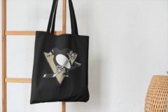 Сумка-шоппер с принтом НХЛ Питтсбург Пингвинз (NHL Pittsburgh Penguins) черная 007