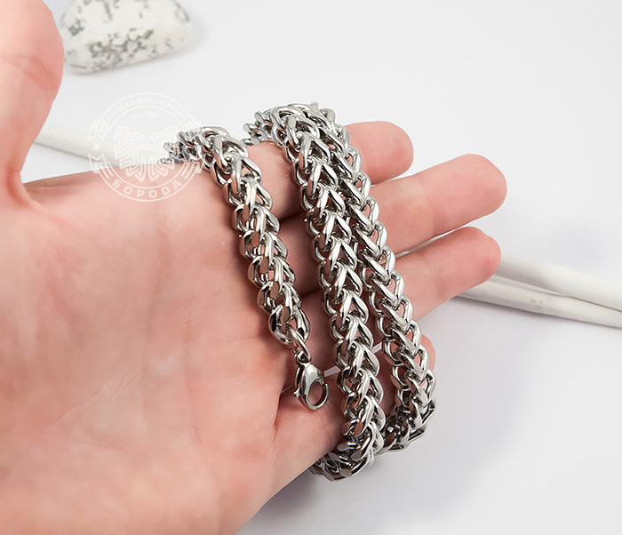 PM242 Крупная мужская цепочка из ювелирной стали квадратного сечения (58 см) фото 05