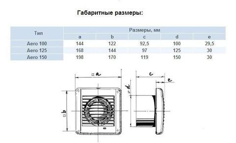 Накладной вентилятор Blauberg Aero 100 H (Таймер, Датчик влажности)