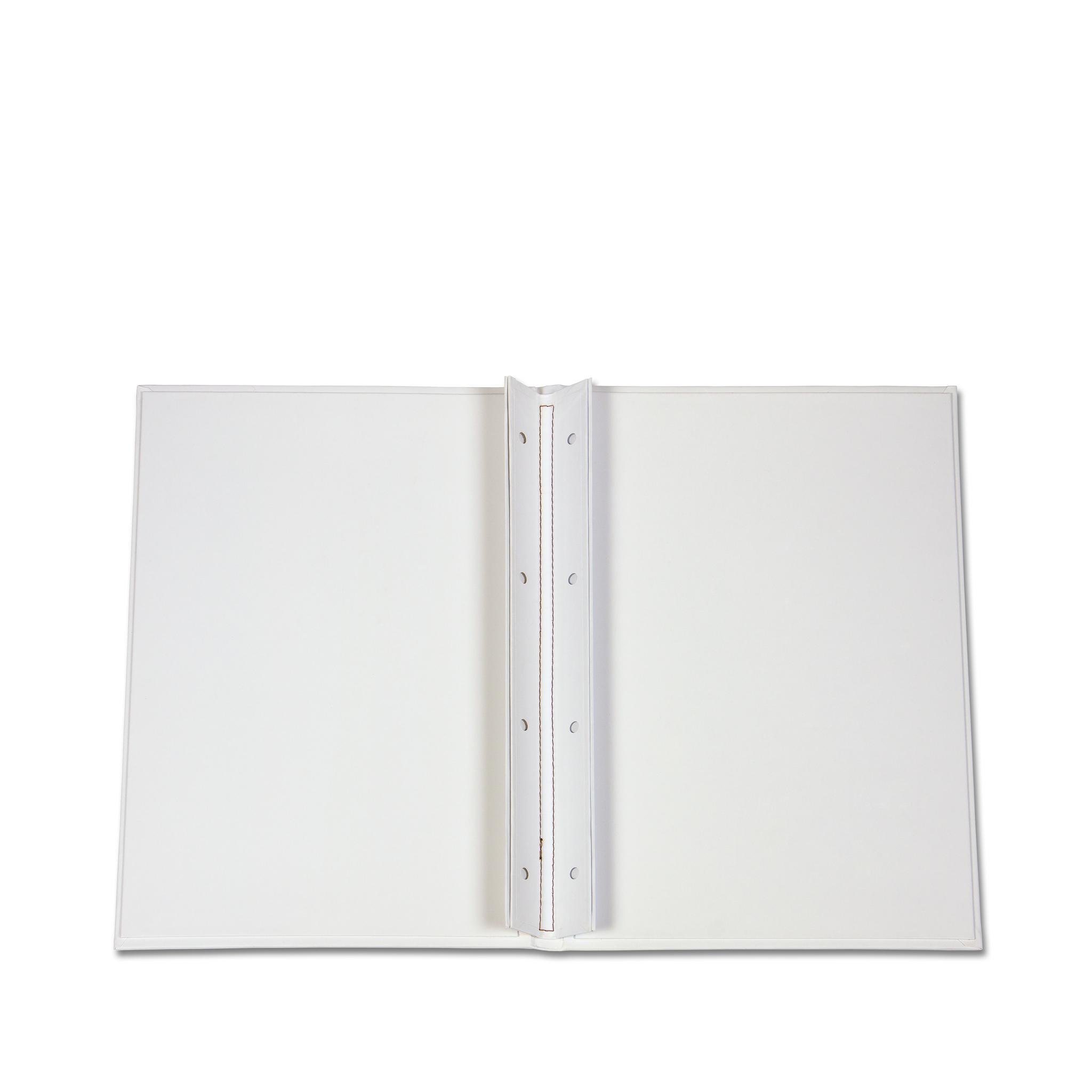 Белая папка на болтах с твёрдой обложкой и печатью логотипа