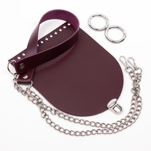 """Комплект для сумочки Орео """"Вино"""". Ручка с цепочкой и замок """"Круг микро"""""""