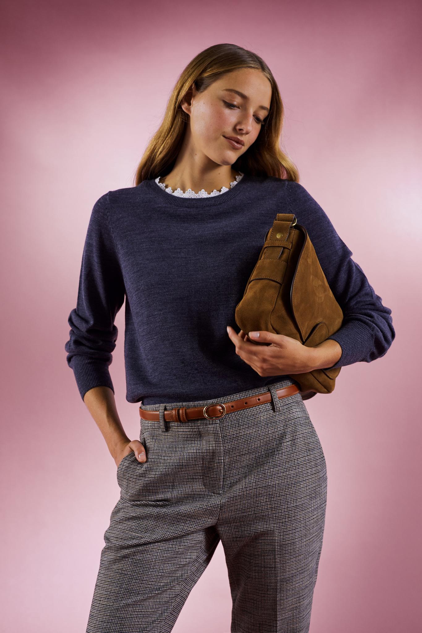 NORIANE - Шерстяной джемпер с контрастным воротником