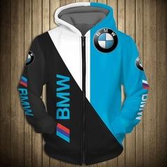 Толстовка утепленная с молнией 3D принт, BMW (3Д Теплые Худи с молнией БМВ) 01