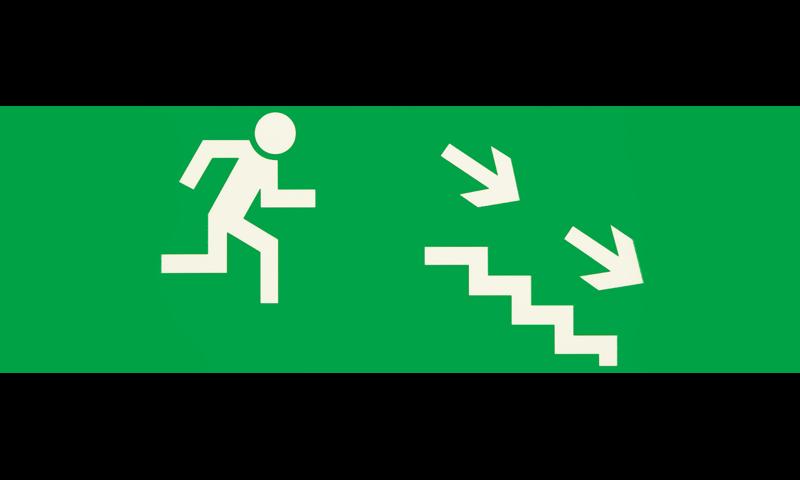 Знак для табло направления движения – К ЭВАКУАЦИОННОМУ ВЫХОДУ ПО ЛЕСТНИЦЕ ВНИЗ НАПРАВО