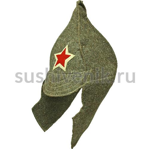 Шапка для бани Буденовка серая