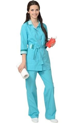 Костюм  женский: куртка, брюки светло-бирюзовый