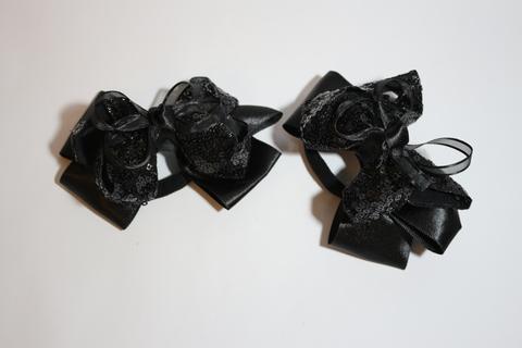 Большой бант с пайетками черный (арт.1001 чер)