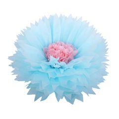 Бумажный цветок 40 см голубой+светло-розовый