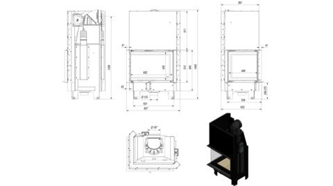 Каминная топка Kratki MBZ/L/BS/G/SG (гнутое стекло) (13 кВт)