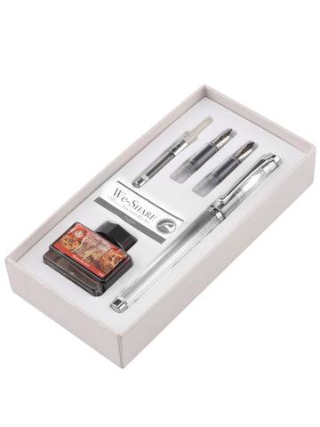 Набор Pierre Cardin We-Share - Transparent, перьевая ручка M + 2 сменных пера + чернила + конвертер