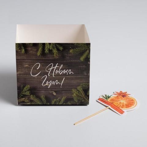 Коробка для цветов с топперами «Веточки», 10 х 10 х 12 см