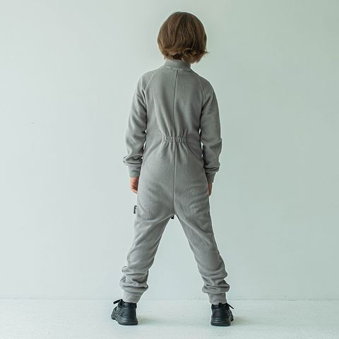 Thermal fleece jumpsuit with stripes for teens - Gray