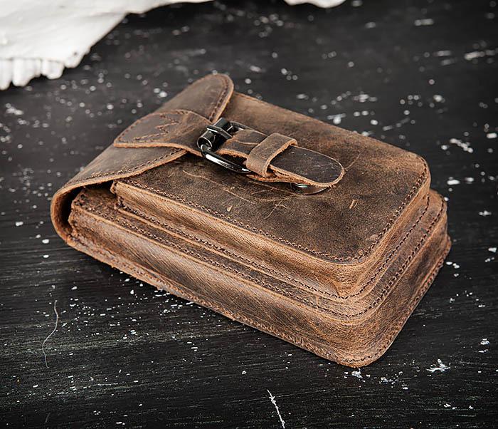 BAG498-2 Мужская кожаная сумка на пояс коричневого цвета фото 03