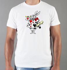 Футболка с принтом мультфильма Алиса в стране чудес, Белый Кролик (Alice's Adventures in Wonderland) белая 004