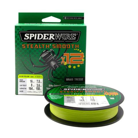 Плетеная леска Spiderwire Stealth Smooth 12 Braid Ярко-желтая 0,09 мм. 7,5 кг. 150 м. (1507374)