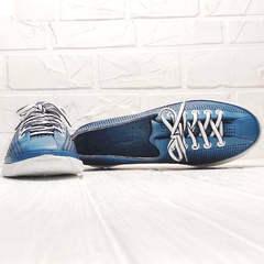 Модние туфли кожаные кроссовки женские летние smart casual Wollen P029-2096-24 Blue White.