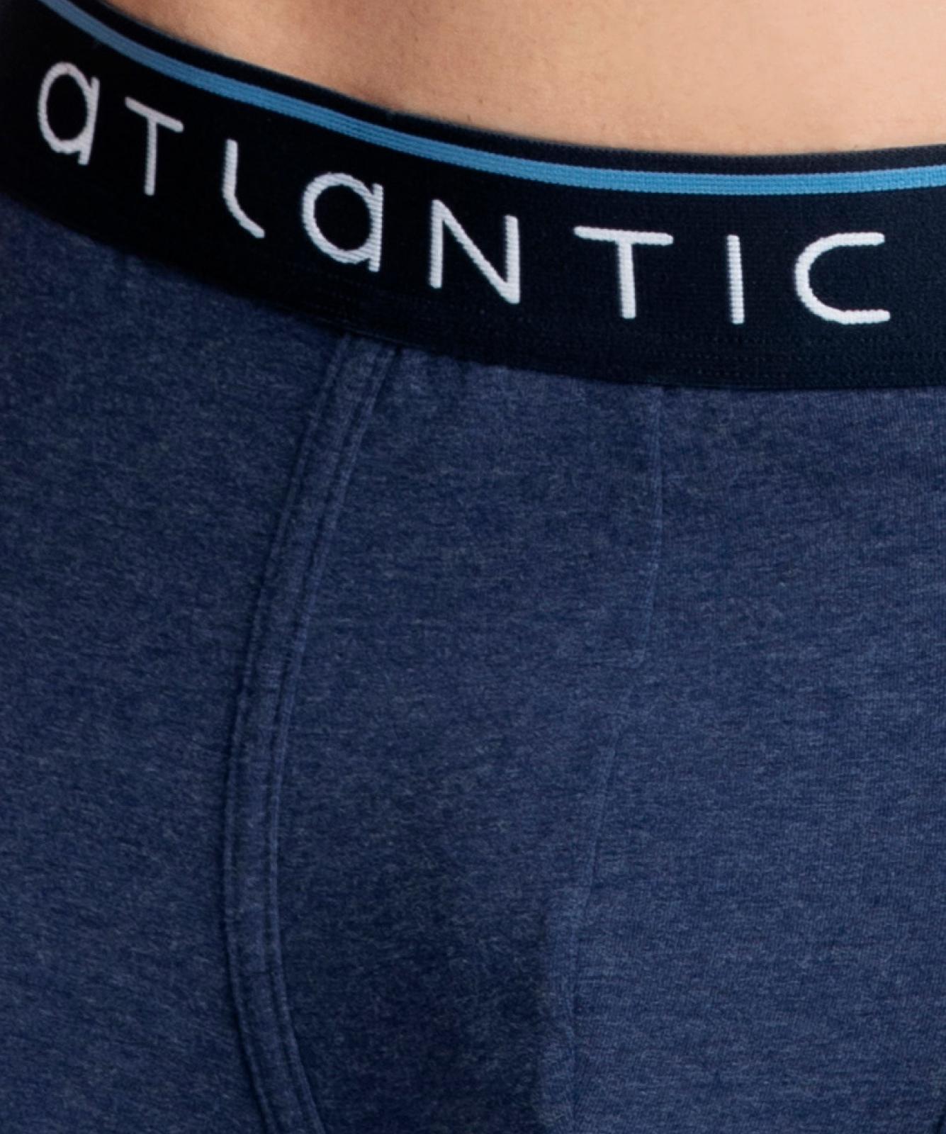 Мужские трусы шорты Atlantic, набор из 2 шт., хлопок, темно-синий + светло-голубой меланж, 2MH-1185